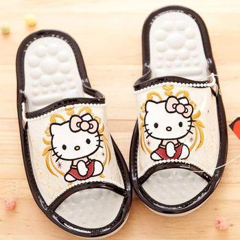 Hello Kitty室內舒壓按摩拖鞋-白色繡花