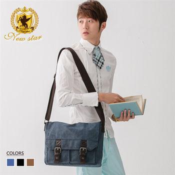 NEW STAR 韓系學院雙磁扣雙口袋帆布包側背包 BL109