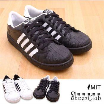 【ShoesClub】【189-P9008】台灣製MIT 寬楦線條運動休閒滑板鞋.2色 黑白/白黑