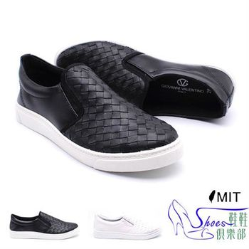 【ShoesClub】【108-GV8277】台灣製MIT 韓流時尚型男編織皮革懶人休閒鞋.2色 黑/白