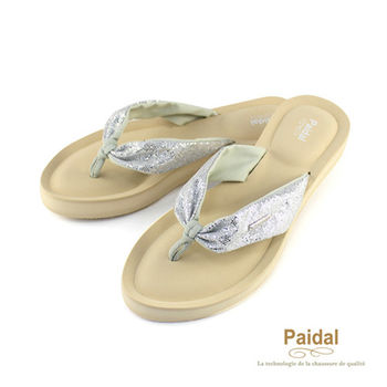 Paidal 氣質綁帶亮蔥款厚底夾腳拖鞋涼鞋-銀