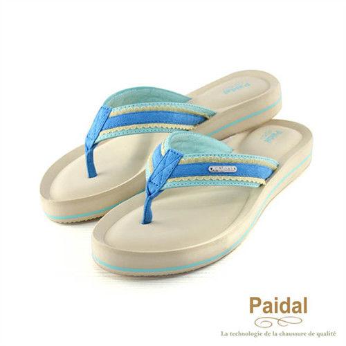Paidal 甜美布蕾絲耳帶厚底夾腳涼鞋-藍