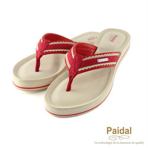 Paidal 甜美布蕾絲耳帶厚底夾腳涼鞋-紅