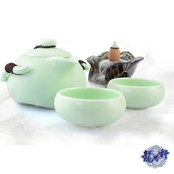 【龍吟軒】一壺二杯 定窯企鵝杯旅行茶具組(加贈花開富貴陶瓷倒流香薰爐、老山檀香)