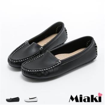 【Miaki】MIT 日雜暢銷皮質平底樂福包鞋 (白色 / 黑色)