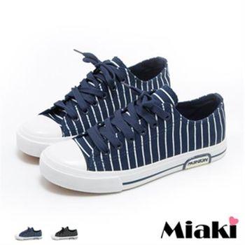 【Miaki】休閒鞋韓系經典直條紋帆布平底包鞋 (深藍色 / 黑色)