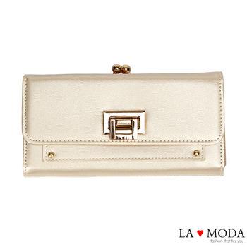 La Moda 獨家開版經典熱銷可放手機翻釦大容量長夾 (金)