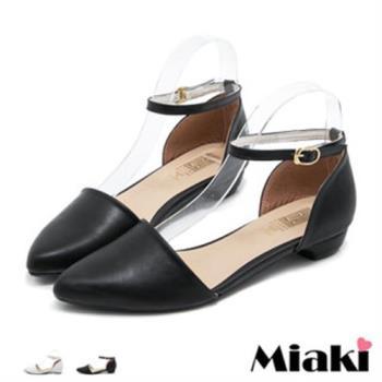 【Miaki】MIT 娃娃鞋韓劇素面典雅百搭尖頭平底包鞋(黑色 / 白色)