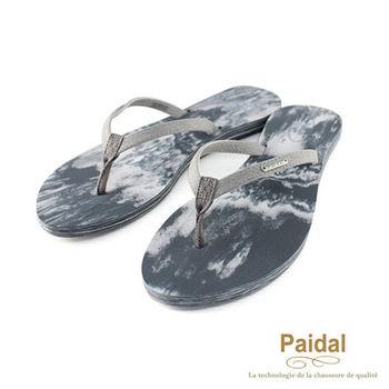 Paidal 水洗暈染刷紋渡假夾腳涼鞋-黑