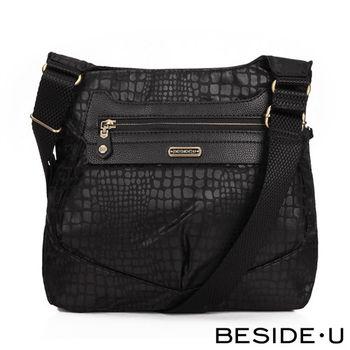 BESIDE-U - PRIMAL系列野性時尚斜肩側方包 - 黑