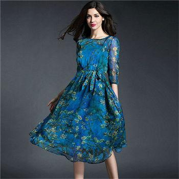 【菟絲花】大尺碼-兩件套修身顯瘦印花中長款中袖雪紡長裙-現貨+預購