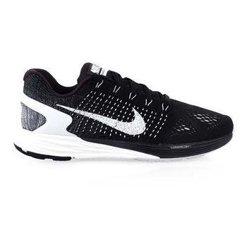 【NIKE】LUNARGLIDE 7 男慢跑鞋- 路跑 氣墊 編織 健身 黑灰白