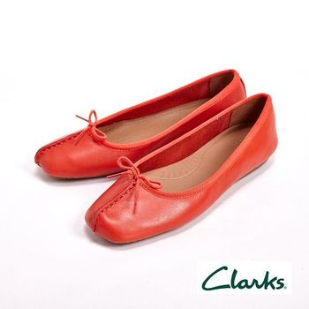 【Clarks】FRECKLE ICE 真皮休閒蝴蝶結平底鞋女鞋-橘(另有藍黑棕)