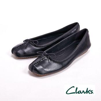 【Clarks】FRECKLE ICE 真皮休閒蝴蝶結平底鞋女鞋-黑(另有橘藍棕)