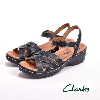 【Clarks】交叉環扣涼鞋 戶外休閒鞋 女鞋-黑
