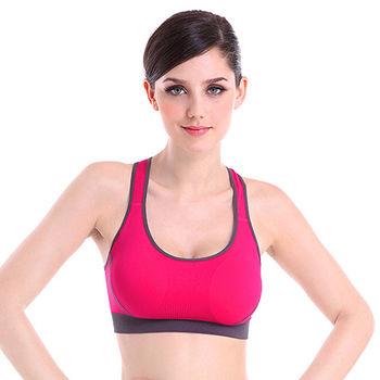 【Olivia】無鋼圈吸汗防震聚攏運動舒適內衣-玫紅