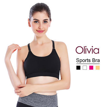 【Olivia】無鋼圈Y字型可調式肩帶棉質內衣-黑色