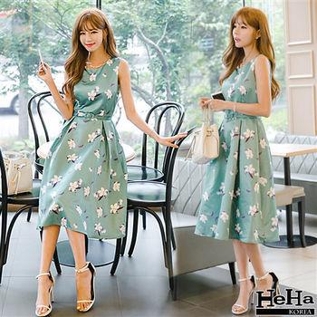 HeHa-無袖印花抓摺連身裙洋裝 綠色(贈腰帶)