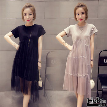 HeHa-彈性高腰短袖網紗連身裙洋裝 二色