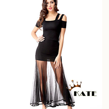 【KATE】露肩網紗兩件式洋裝K228(迷人黑)