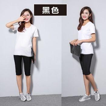 HelloBeauty 韓版超顯瘦彈力光澤褲 (七分 內搭褲 ) 黑色