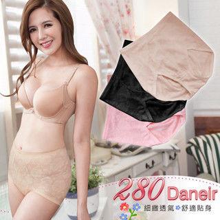 【櫻桃寶貝】(膚色) M -XXL台灣製280D中腰機能立體浮花透氣提臀輕塑內褲