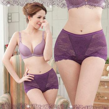 【櫻桃寶貝】(紫色) M-XXL 『台灣製』280D俏麗緹花機能包覆輕塑內褲
