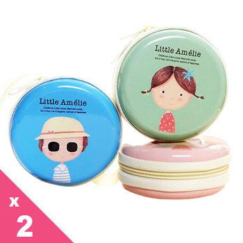 日韓可愛女孩卡通圓形手提款鐵盒/零錢包/硬幣包(隨機出貨)x2