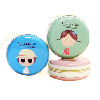 日韓可愛女孩卡通人物圓形手提款鐵盒/零錢包/硬幣包(隨機出貨)