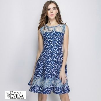 預購【伊凡莎時尚】法式甜美玫瑰刺繡牛仔公主洋裝(S-L)