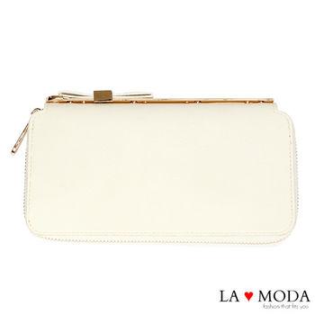 La Moda 獨家開版可愛滿點可放手機蝴蝶結釦飾大容量拉鍊長夾 (白)