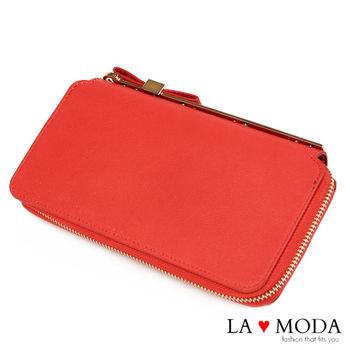 La Moda 獨家開版可愛滿點可放手機蝴蝶結釦飾大容量拉鍊長夾 (紅)