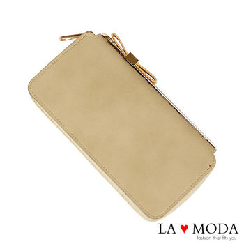 La Moda 獨家開版可愛滿點可放手機蝴蝶結釦飾大容量拉鍊長夾 (杏)