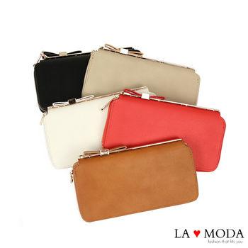 La Moda 獨家開版可愛滿點可放手機蝴蝶結釦飾大容量拉鍊長夾 (咖啡)