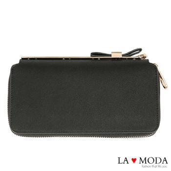 La Moda 獨家開版可愛滿點可放手機蝴蝶結釦飾大容量拉鍊長夾 (黑)