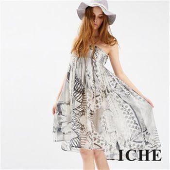 【ICHE 衣哲】復古印花平口造型洋裝