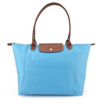 LONGCHAMP Le-Pliage 長把中型尼龍手提包(水藍)