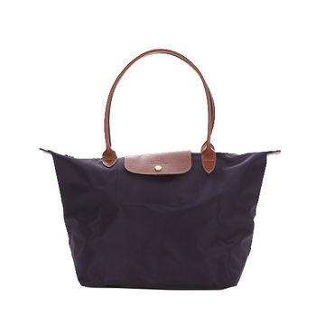 LONGCHAMP Le-Pliage 長把中型尼龍手提包(紫)