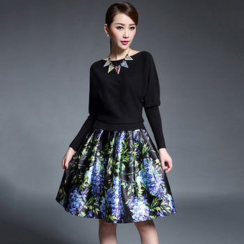 【Jisen】歐美蝙蝠袖拼接印花裙洋裝