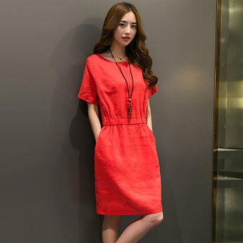 【Jisen】簡約休閒風類棉麻洋裝