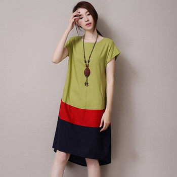 【Jisen】復古A字寬鬆類棉麻洋裝
