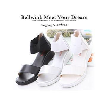 bellwink 【 B9126】夏季摩登寬帶休閒涼鞋-白色/銀色