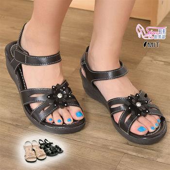 【Shoes Club】【052-6601】涼鞋.台灣製MIT 立體雕花貼鑽小坡跟淑女涼鞋.2色 黑/米