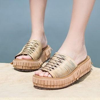 背叛風情-夏季女士真皮涼拖流蘇牛皮鬆糕鞋厚底民族風女鞋T16BLX00298