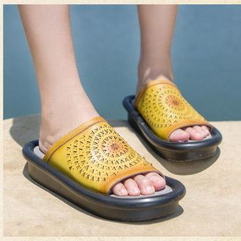 背叛風情-手工真皮拖鞋羊皮鏤空透氣厚底涼拖女士夏季休閒鞋T16BLX03392