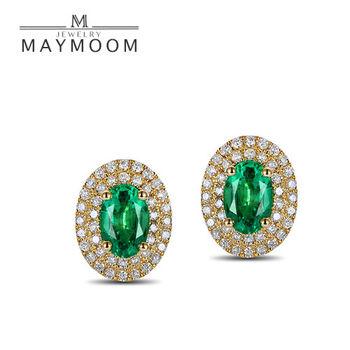 MAYMOON 優雅綠燦 3克拉天然祖母綠鑽石耳環18K