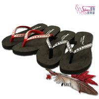~Shoes Club~~200 ^#45 3216~拖鞋. 製MIT 寶石水鑽綴飾 平底