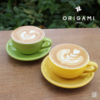 日本 ORIGAMI 摺紙咖啡陶瓷 拿鐵碗盤組 413ml (共6色)
