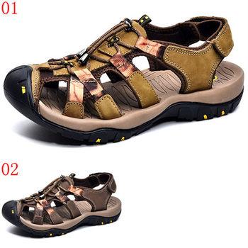 (預購)【CARTELO卡帝樂鱷魚】CX4081真皮沙灘鞋子男透氣運動男士羅馬包頭涼鞋(JHS杰恆社)