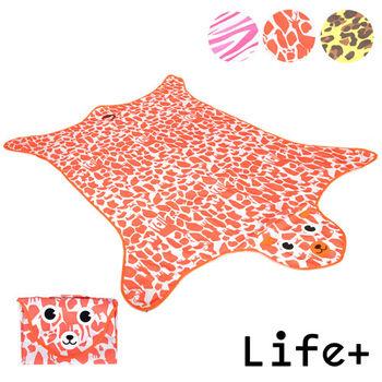【Life Plus】動物叢林  造型野餐墊/遊戲墊_加大款 (橘色_鹿紋)